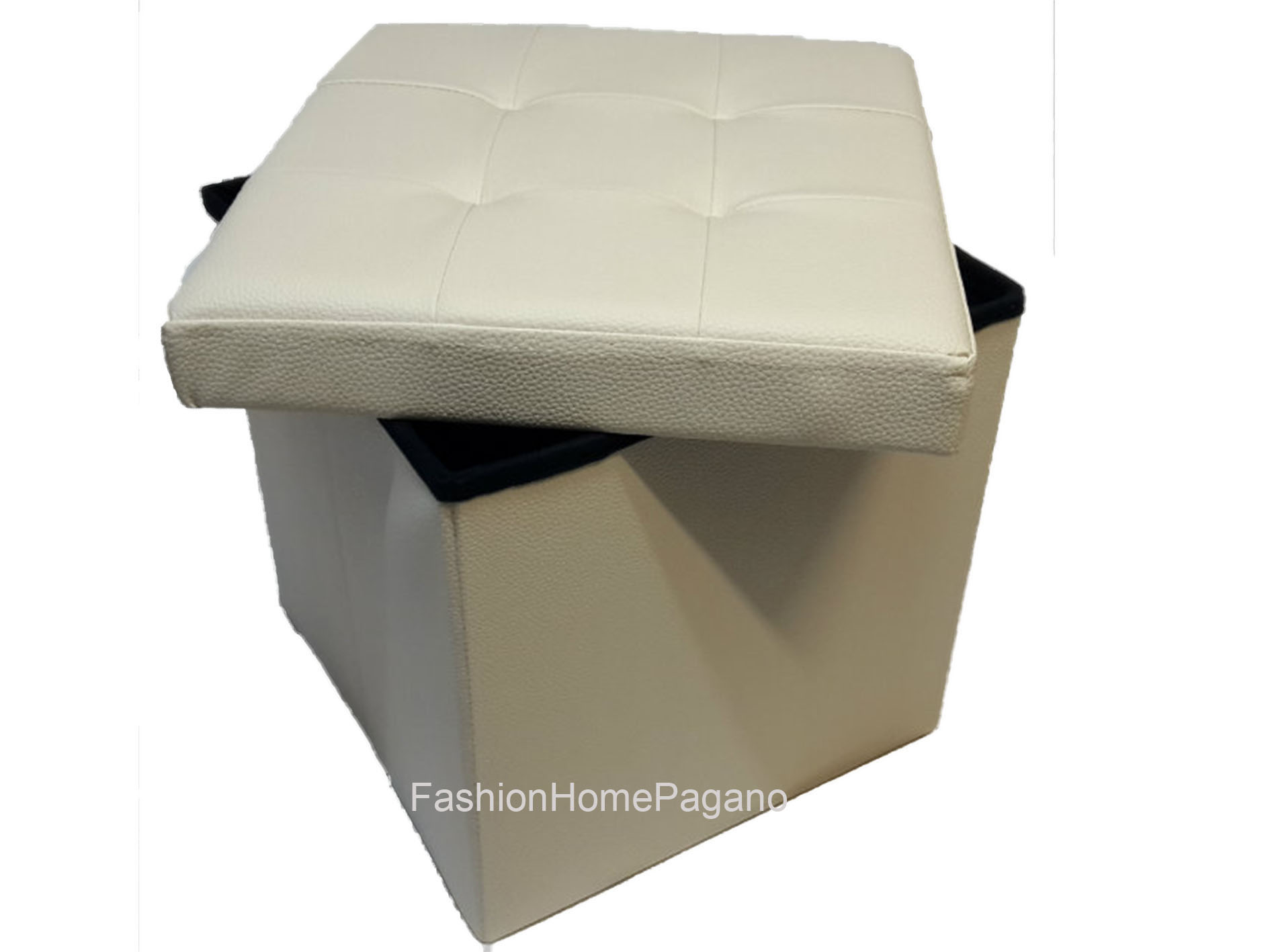 FHP-01449 - Puff Box - fashion home pagano - Puff box simil pelle ...