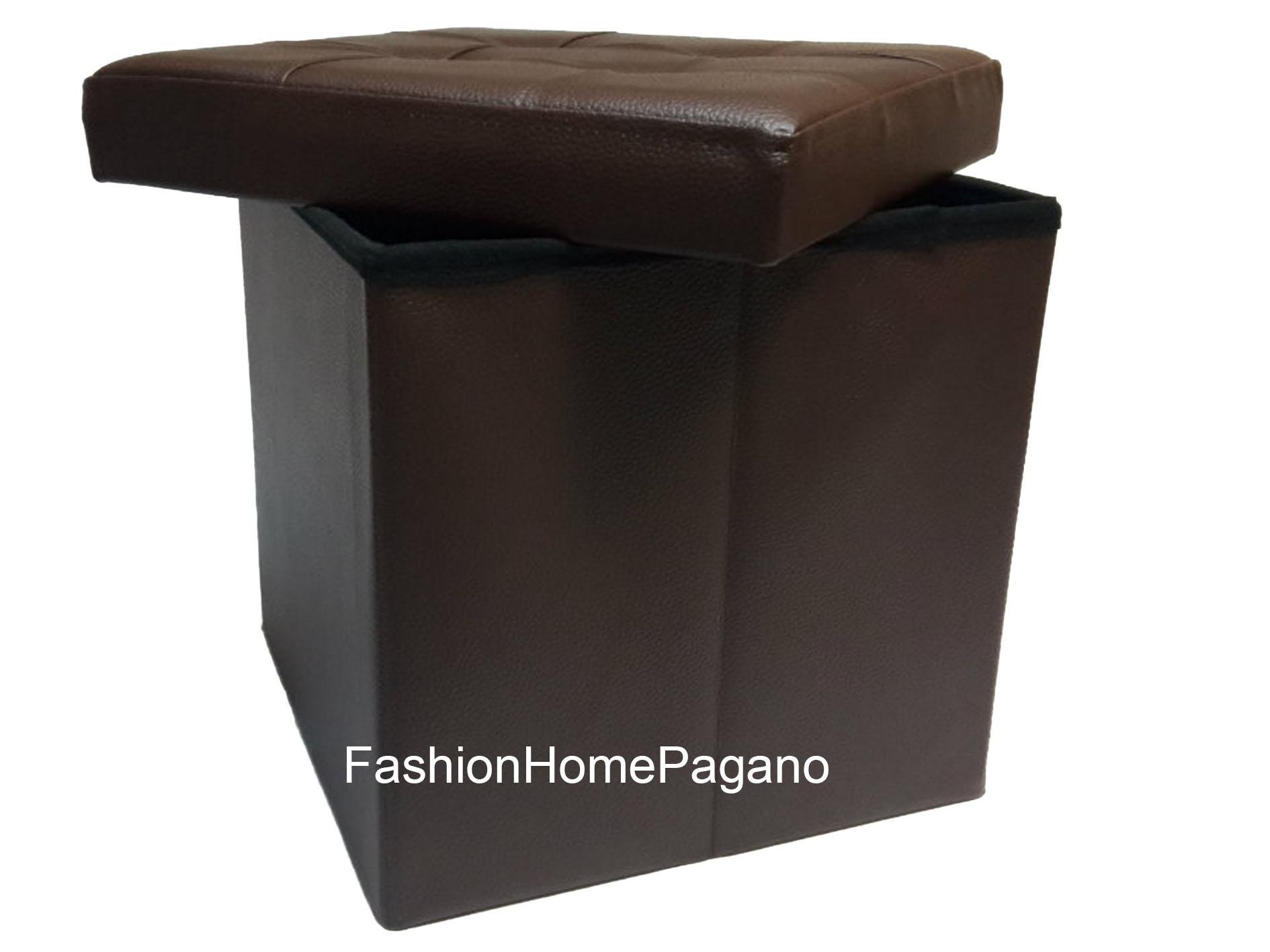 FHP-01449 - Puff Box - fashion home pagano - Puff box simil pelle ...